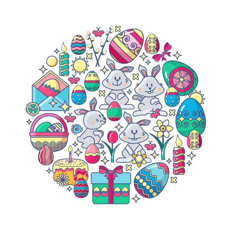 Påskbeståndsdelar som ordnas i cirkel Vektorkanin, gåva, ägg stock illustrationer