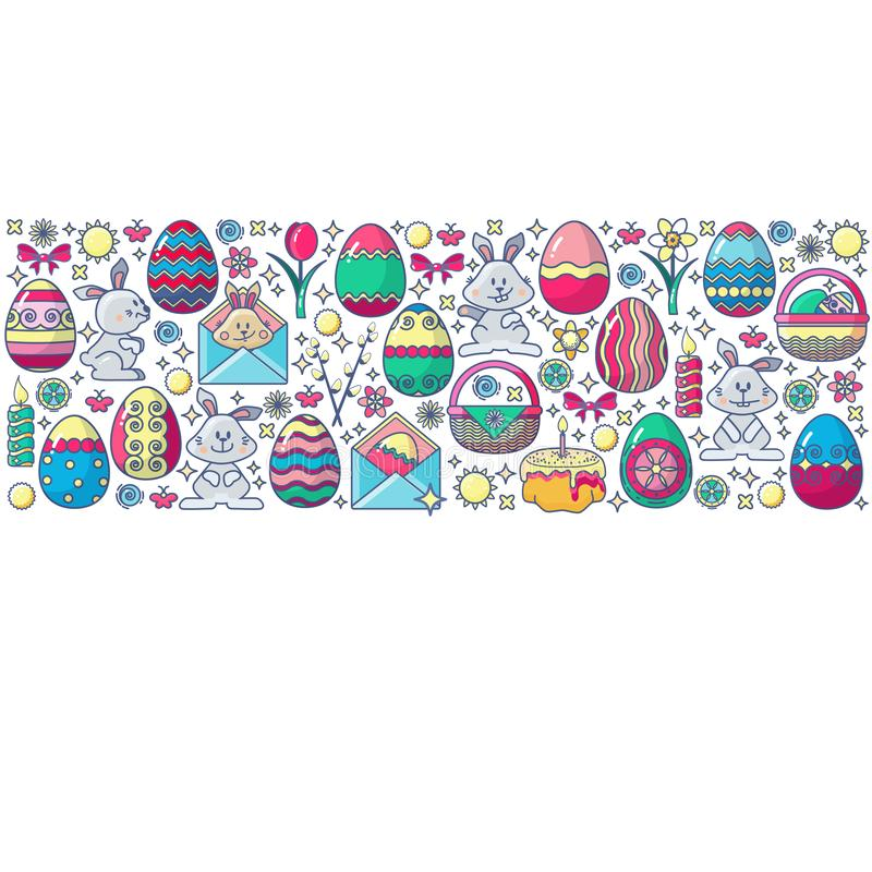 Påskbeståndsdelar som ordnas i remsa Färgrikt ägg för vektor, kanin vektor illustrationer