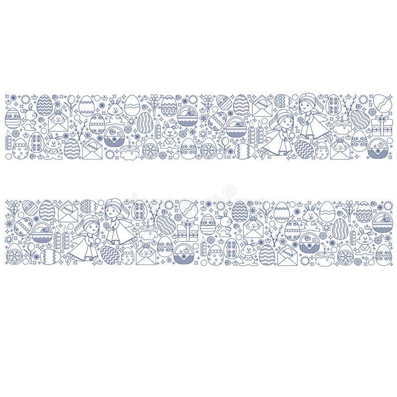 Påskbeståndsdelar som ordnas i remsa Linjär ängel för vektor, kanin royaltyfri illustrationer