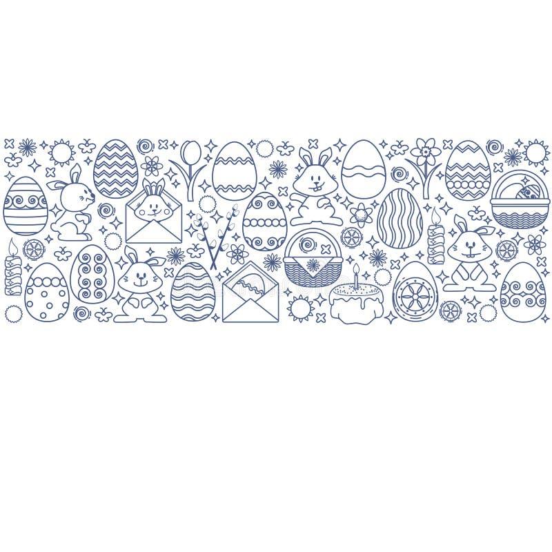 Påskbeståndsdelar som ordnas i remsa Linjärt ägg för vektor, kanin stock illustrationer