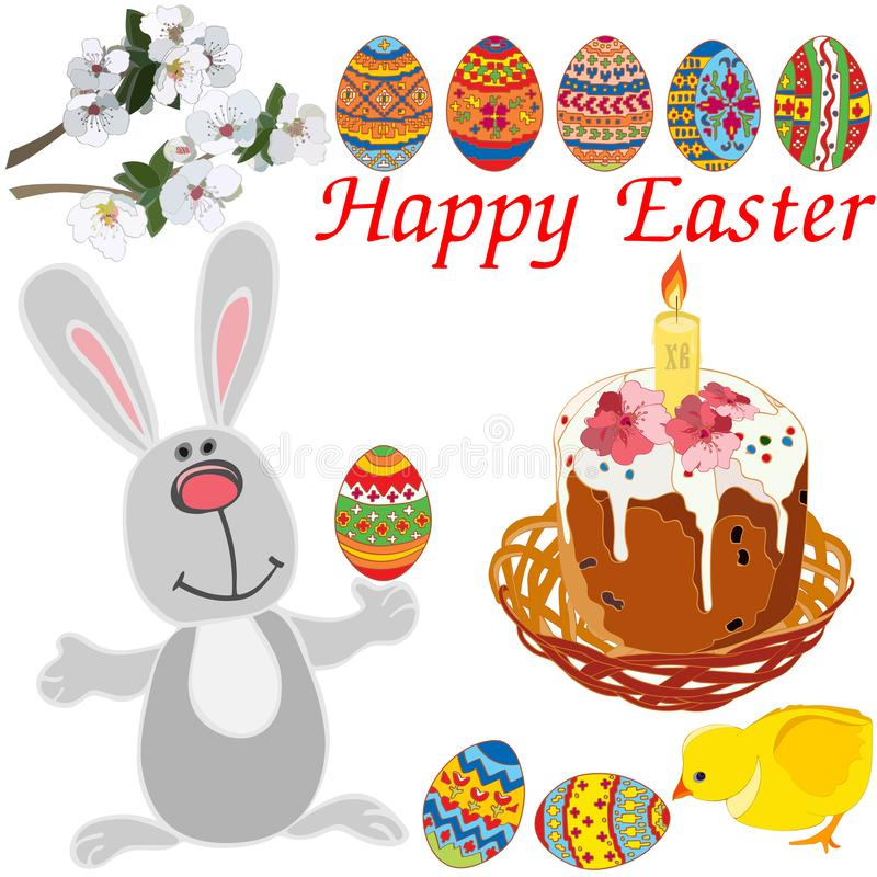 Påskbeståndsdeluppsättning: gullig kanin, höna som blommar filialer, påsk i en vide- korg med en stearinljus royaltyfri illustrationer