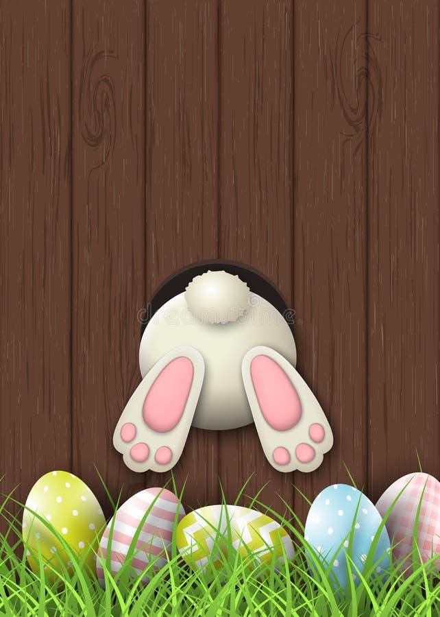 Påskbevekelsegrund, kaninbotten och easter ägg i nytt gräs på brun träbakgrund, illustration royaltyfri illustrationer