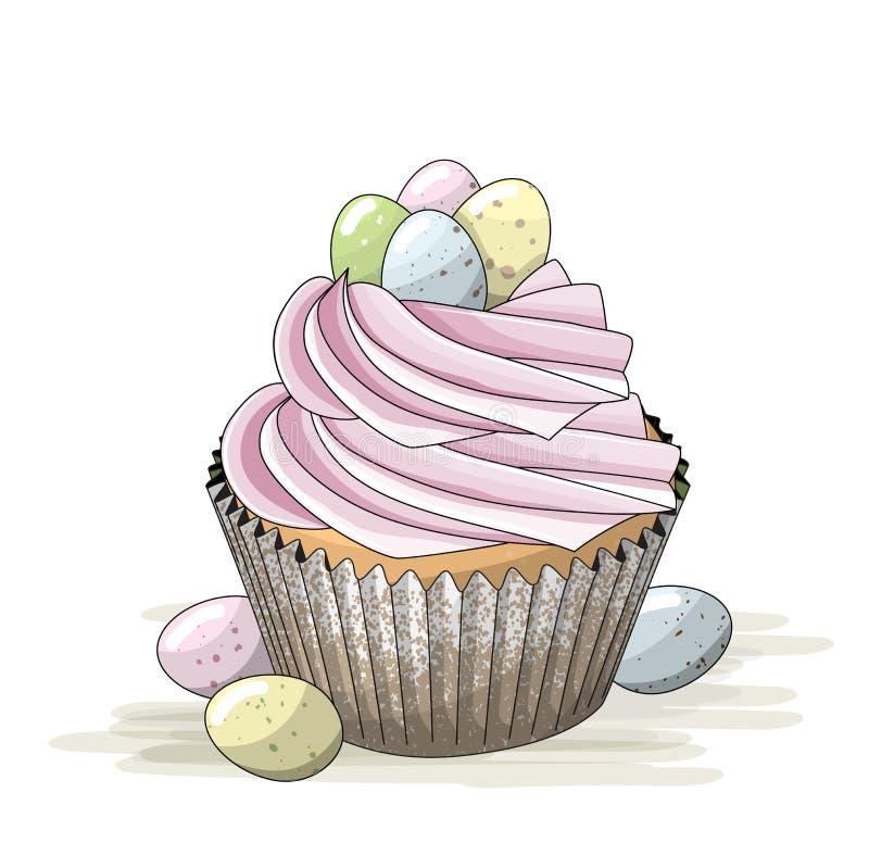 Påskbevekelsegrund, muffin med rosa färgkräm och små färgrika ägg, illustration stock illustrationer