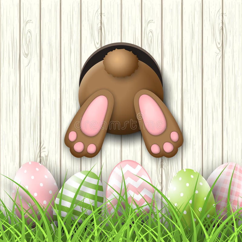 Påskbevekelsegrund, nedersta andeasterägg för kanin i nytt gräs på vit träbakgrund, illustration stock illustrationer