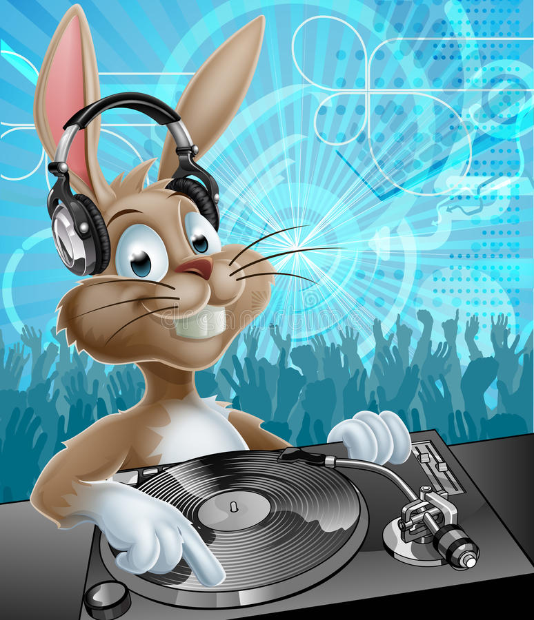 PåskBunny Party discjockey vektor illustrationer