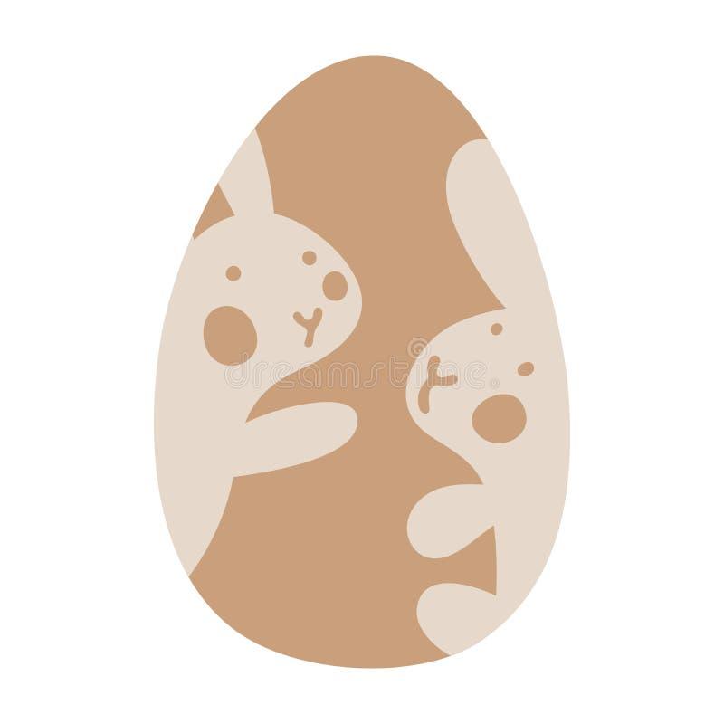 Påskchokladägg med bilden av gullig liten kanin två inom Påsk- eller ungevektorillustration royaltyfri illustrationer