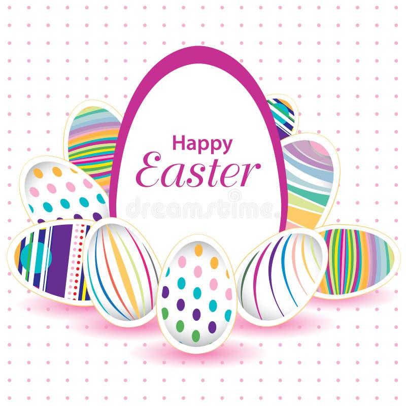 Påskdag för ägg på vektordesign Färgrikt ägg som isoleras på vit och rosa bakgrund royaltyfria bilder
