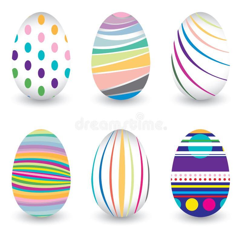 Påskdag för ägget som isoleras på vektordesign Färgrik sparremodell för ägg Färgrikt ägg som isoleras på vit bakgrund stock illustrationer