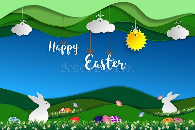 Påskdag med vitkaniner, färgrika ägg, fjärilen och den lilla tusenskönan på gräs vektor illustrationer
