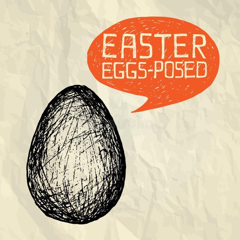 Påsken ägg-poserade (utsatt) - det lyckliga påskkortet stock illustrationer