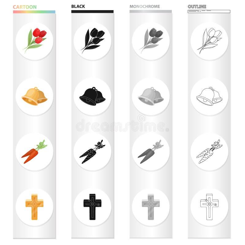 Påsken är symboler för en översikt för kristen ferietecknad filmsvart monokromma i uppsättningsamlingen för design Påskattribut vektor illustrationer