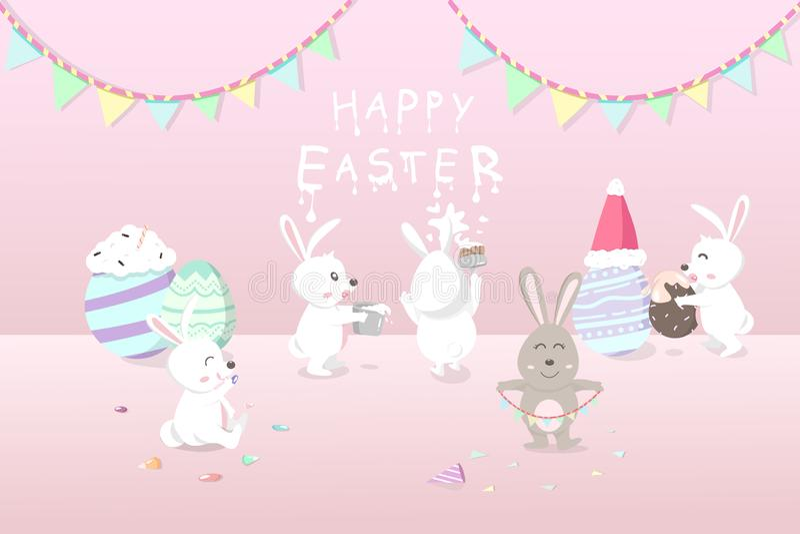 Påsken ferie för hälsningkortet, kaniner dekorerar rummet för firar partiet med det utsmyckade ägginfallet, gullig kanintecknad f stock illustrationer