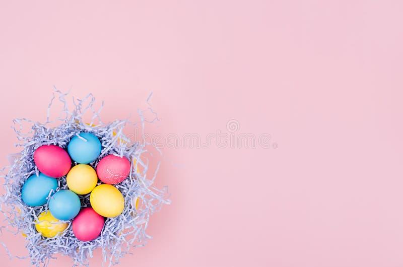 Påsken målade ägg i gyckelblått bygga bo på mjuk rosa bakgrund, kopieringsutrymme, bästa sikt arkivfoto