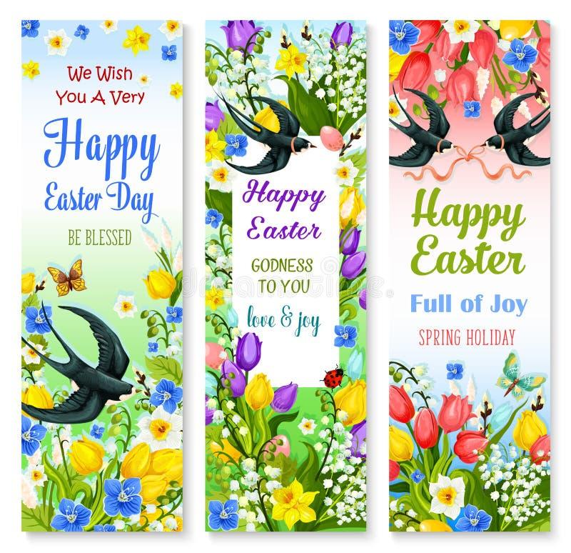 Påsken semestrar det blom- banret med blomman och fågeln vektor illustrationer