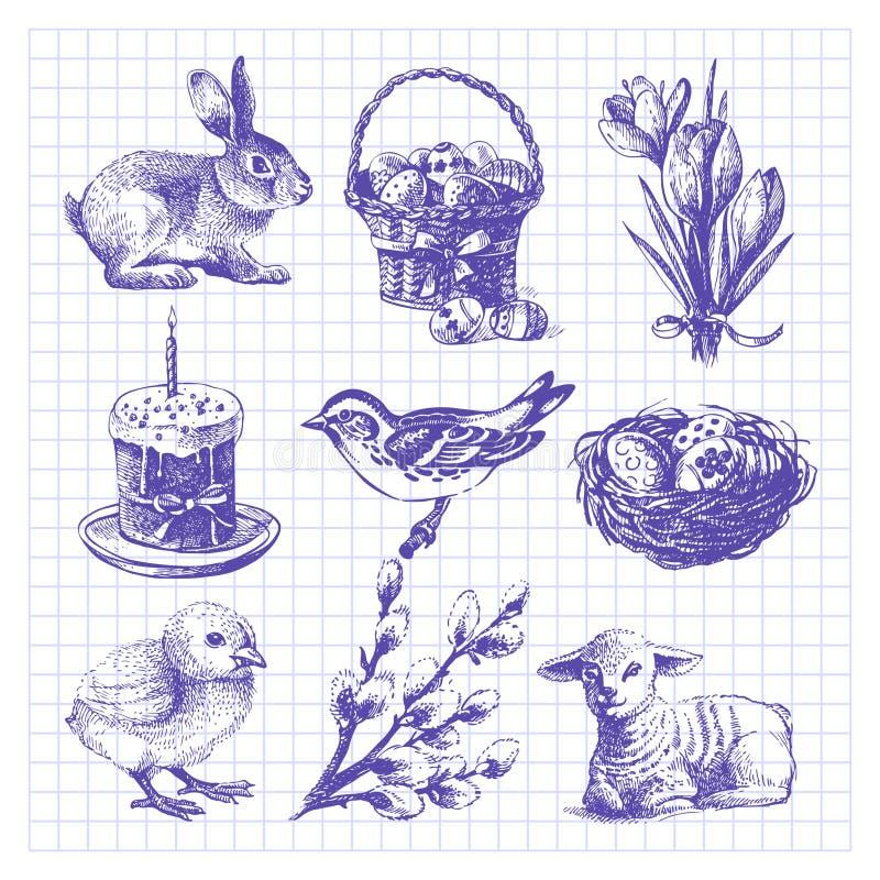 Påsken skissar uppsättningen stock illustrationer