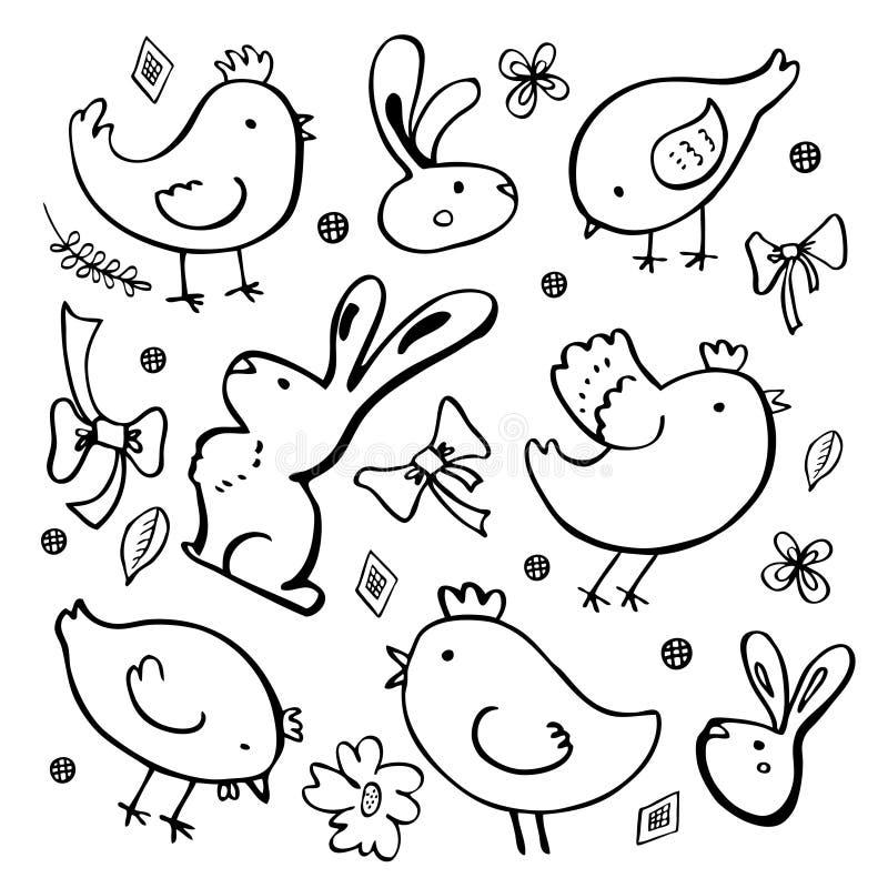 Påsken skissar uppsättningen Kaniner, hönor och växter För översiktsfärgpulver för hand utdragen illustration för vektor stock illustrationer