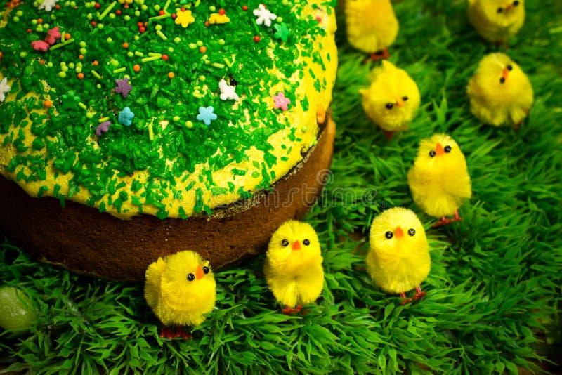 Påsken som firar kakan på grönt gräs med den gula leksaken, blir rädd arkivfoto