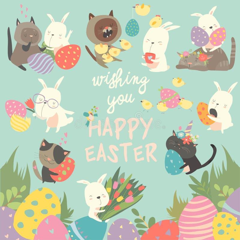 Påsken ställde in med kaninen, ägg, kanin, blommor, katter, fågelunge på blå bakgrund också vektor för coreldrawillustration vektor illustrationer