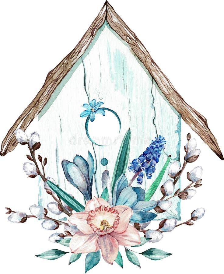 Påskfågelhus med vårblomma- och för pussypil filialer Vattenfärgillustration som isoleras på vit bakgrund royaltyfri illustrationer