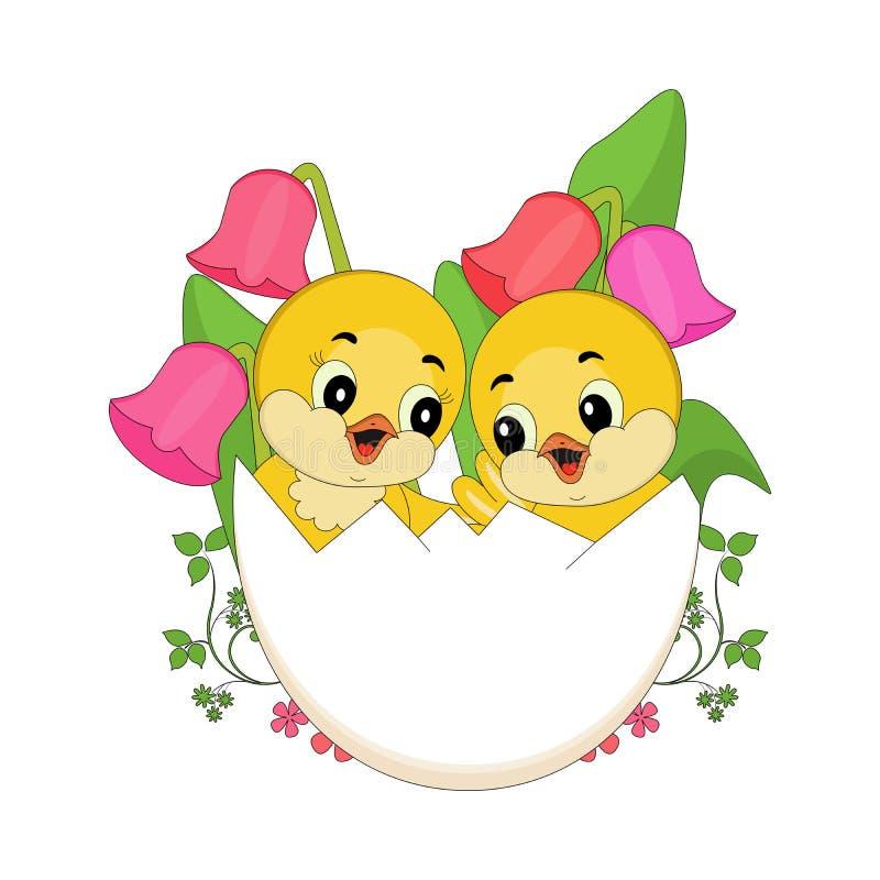 Påskfågelungar i ägg royaltyfri illustrationer