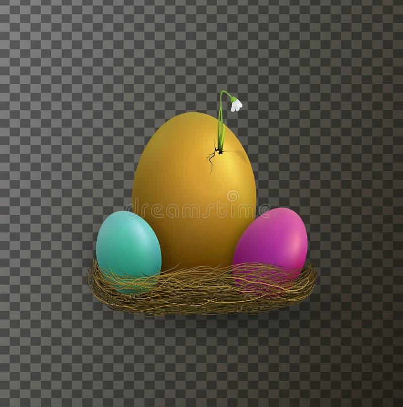 Påskferiebegreppet, vårbörjanidén, påsksammansättning med ägg och snödroppen blommar att spira från äggskal stock illustrationer