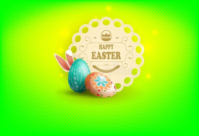 Påskgräsplansammansättning med en rund ram, ägg och kaninöron, royaltyfri illustrationer
