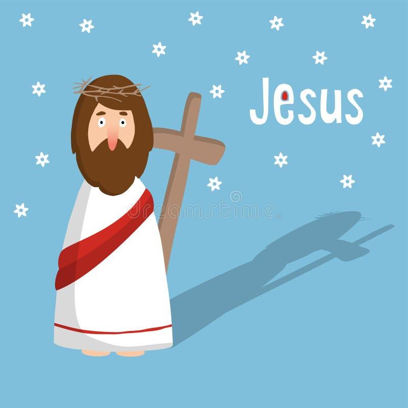 Påskhälsningkort, inbjudan med Jesus Christ och kors royaltyfri illustrationer