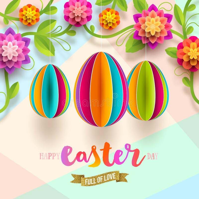 Påskhälsningkort - pappers- ägg och blommor stock illustrationer