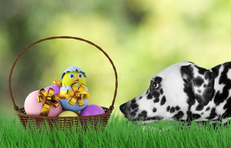 Påskhund med ägg i korg arkivfoto