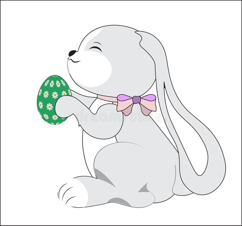 Påskkanin med det gröna ägget royaltyfri illustrationer