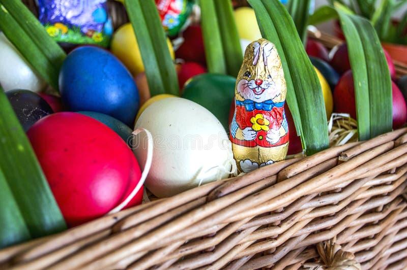 Påskkanin och färgad äggkorg royaltyfria foton