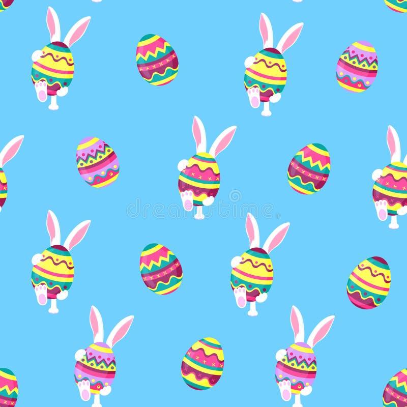 Påskkanin som rymmer ett stort påsk- ägg Rolig kanin går den sömlösa modellen stock illustrationer
