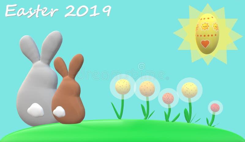 Påskkaniner, blommor, sol, easter ägg med ljust - blå bakgrund och 'easter 2019 'undertext stock illustrationer