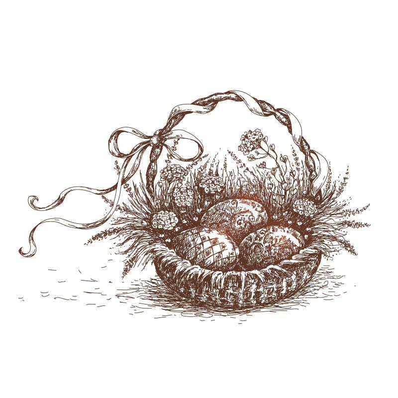 Påskkorgen skissar royaltyfri illustrationer