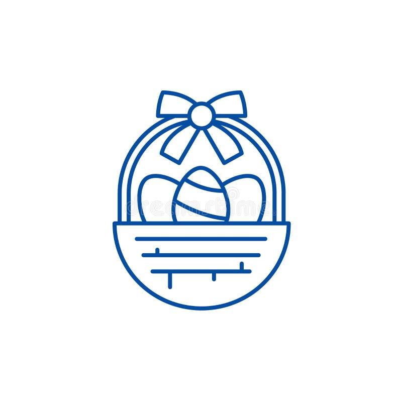 Påskkorglinje symbolsbegrepp Symbol för vektor för påskkorg plant, tecken, översiktsillustration royaltyfri illustrationer