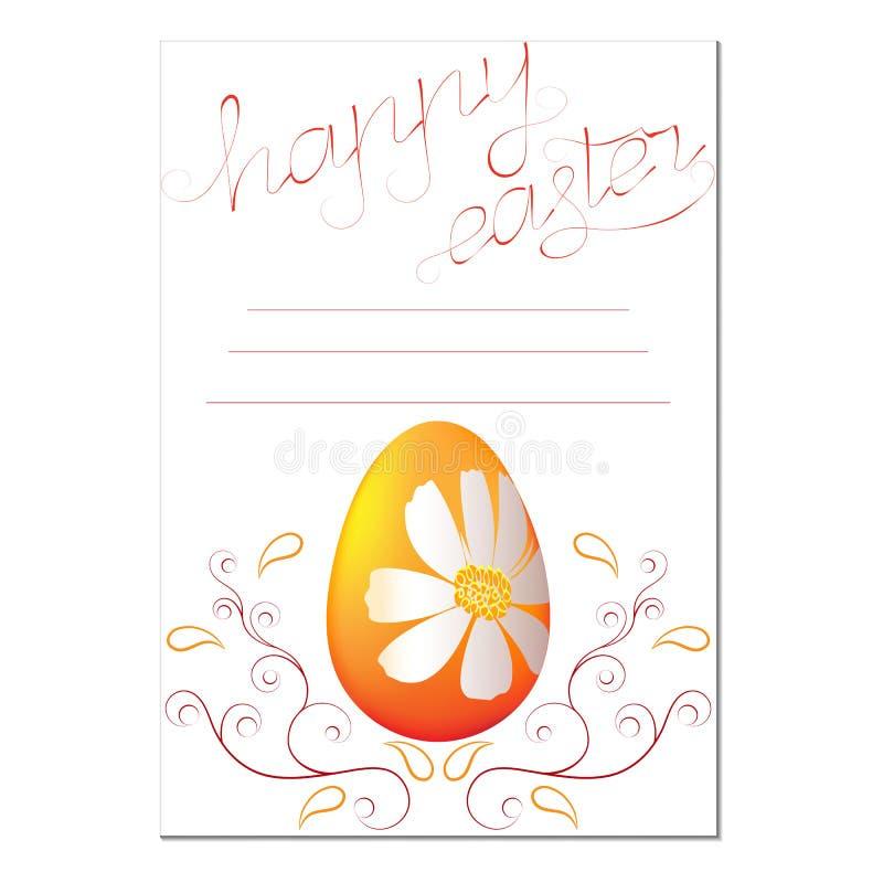 Påskkort med en lycklig påsk för inskrift vektor illustrationer