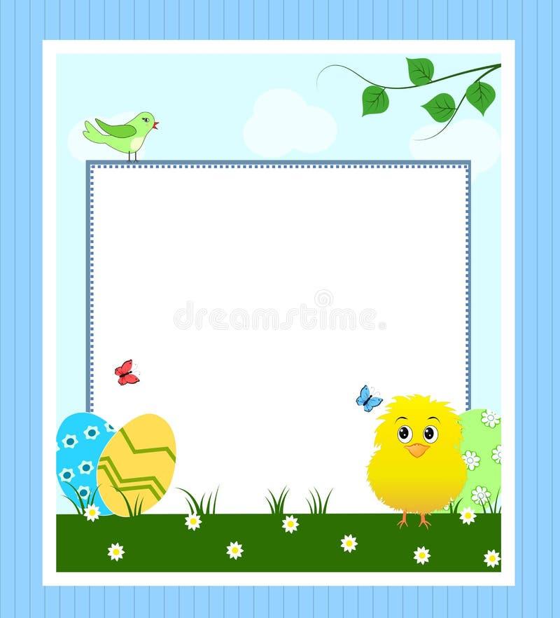 Påskkort med textramen stock illustrationer