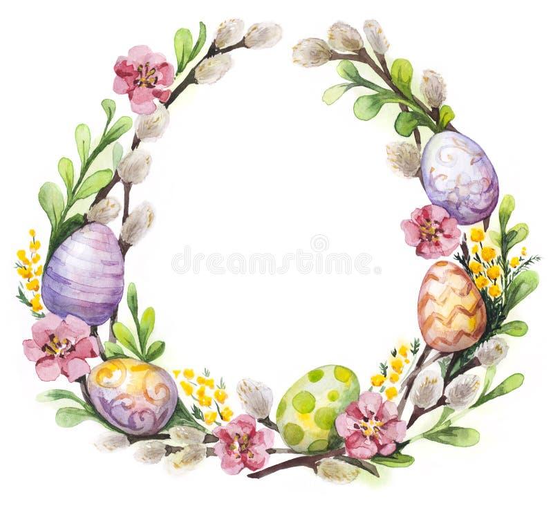 Påskkrans med easter ägg och blommor vektor illustrationer