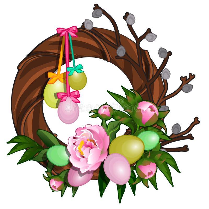 Påskkrans med färgrika ägg och rosa pioner Symbol och garnering för ferie Isolerad vektorillustration royaltyfri illustrationer