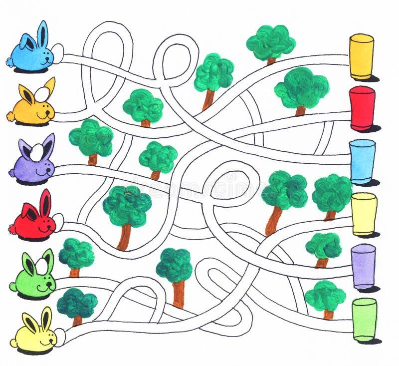Påsklabyrintlek eller aktivitetssida för ungar: Kaniner och ägg royaltyfri illustrationer