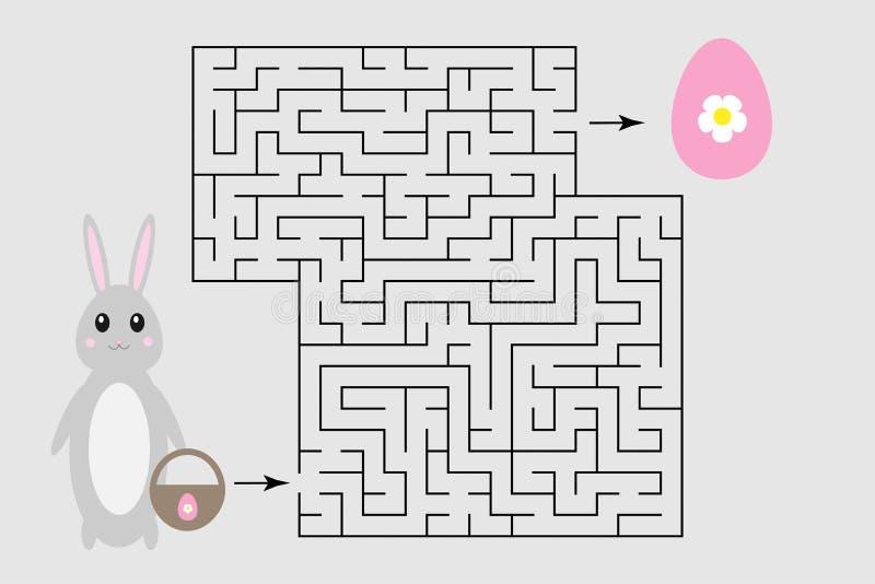 Påsklabyrintleken, hjälper kaninen för att finna en väg ut ur labyrinten, det gulliga tecknad filmteckenet, förskole- arbetssedel royaltyfri illustrationer