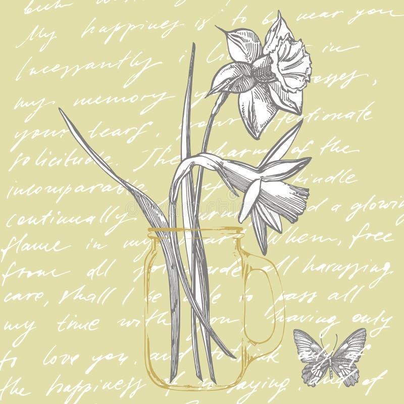 Påsklilja- eller pingstliljablommateckningar Samling av den utdragna svartvita påskliljan för hand Hand dragit botaniskt stock illustrationer