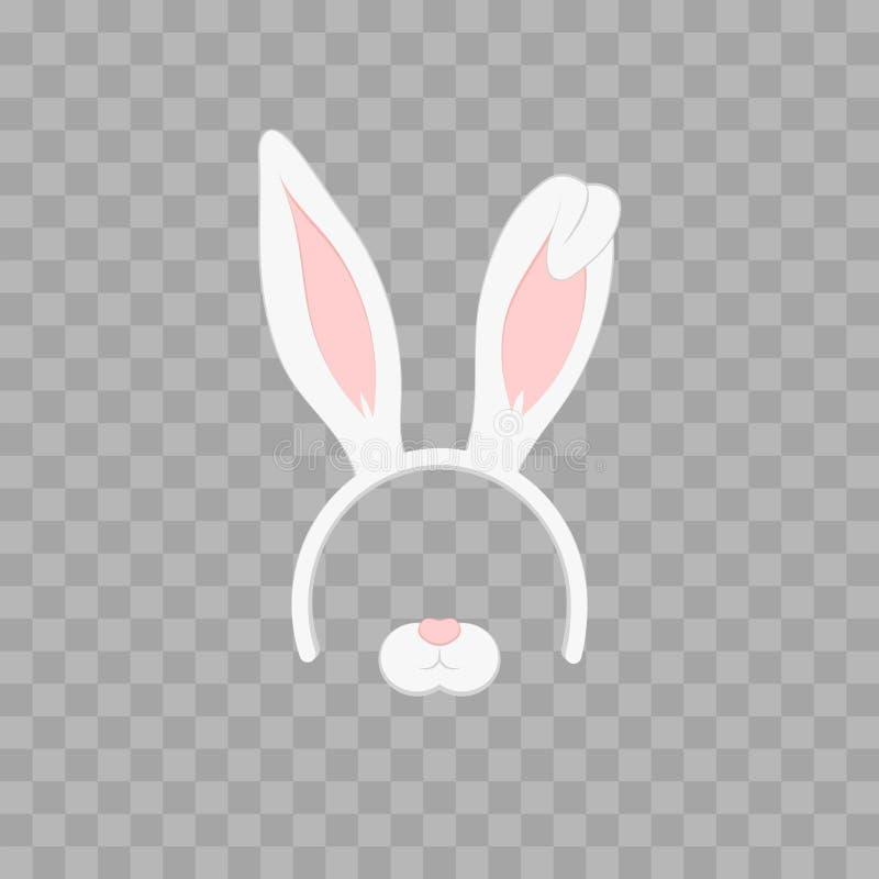 Påskmaskering med kaninöron som isoleras på genomskinligt rutigt, illustration Gullig huvudbindel för tecknad film med öron arkivbilder