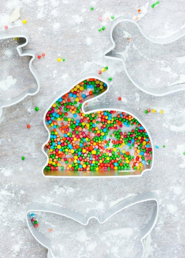 Påskmatlagningbegrepp: kanin för kanin för metallformer för traditionellt fotografering för bildbyråer