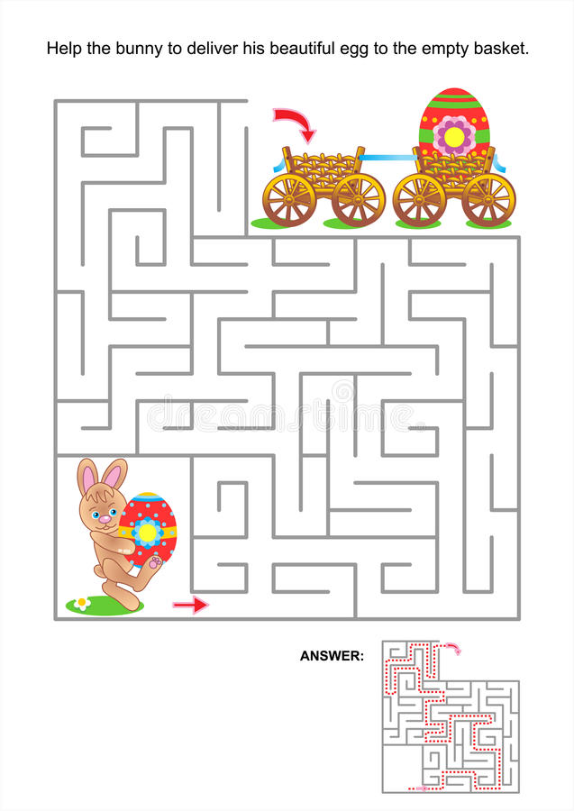 Mazelek för ungar med kaninen och målade ägg stock illustrationer