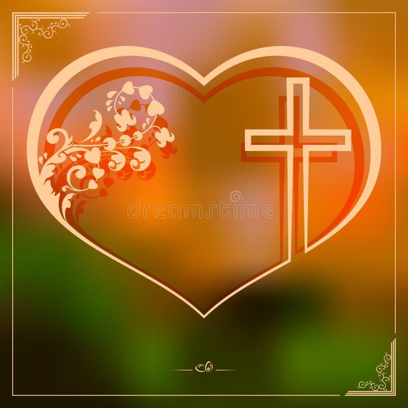 Påskmodell med en kontur av hjärtan med ett kors, vykort royaltyfri illustrationer