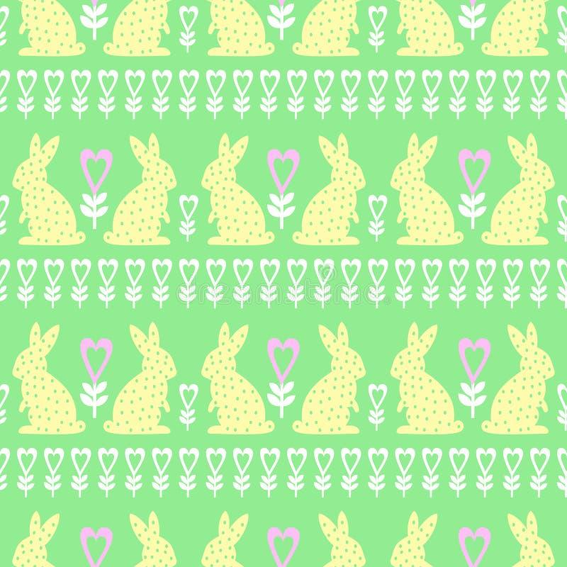 Påskmodell med påskkaninen, hjärtor och blommor på grön bakgrund stock illustrationer