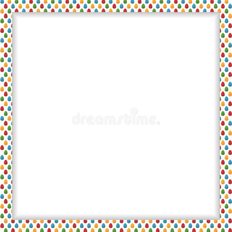 Påskram med den färgrika äggmodellen och fritt utrymme i cen stock illustrationer
