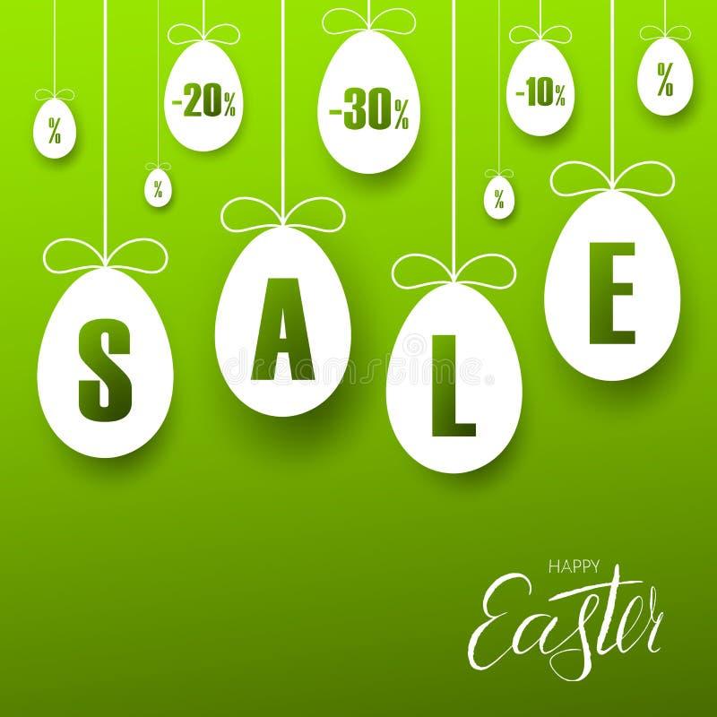PåskSale baner Hängande ägg för påsk, tecknad filmbandpilbåge, grön bakgrund Etikettsmall för feriepåsk stock illustrationer