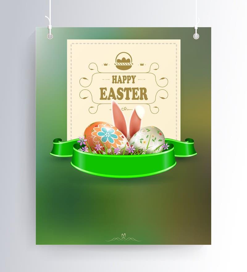 Påsksammansättning av en grön skugga med en kontur av ägg, kaninöron, ett band och en fyrkantig ram med text på vektor illustrationer